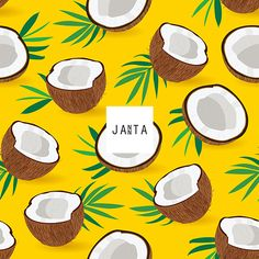 Seamless pattern coconut piece on yellow background, Vector illustration Vector Pattern, Pattern Design, Coconut Vector, Bullet Journal Writing, Fruit Illustration, Fruit Pattern, Tropical Pattern, Fruit Art, Yellow Background