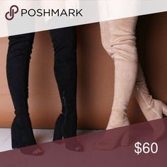 Thigh High Peep Toe Boots 😍 Make your statement with those unique thigh high chunky boots, a super hot style destined to rock your world. Heel Height: 4.5″. Calf Width: 12.4″. Thigh Circumference: 16″. Shoe Height: 26.7″. Fabric Composition: Synthetic, Manmade Faux Suede. Brand new. No trades. Offers welcome Shoes Heeled Boots