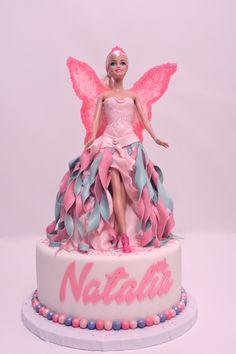 Barbie Fairy Cake Two time fondant dress & fondant glittery wings Barbie Fairy Cake, Barbie Doll Birthday Cake, Barbie Cake, Barbie Party, Happy Birthday Cakes, Birthday Cake Girls, Doll Cake Designs, Bolo Barbie, Fairy Cakes