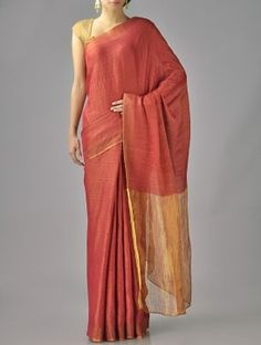 Red Rust Zari Cotton Silk Saree Simple Sarees, Trendy Sarees, Indian Beauty Saree, Indian Sarees, Pakistani Outfits, Indian Outfits, Indian Attire, Indian Wear, Sari Design