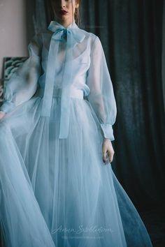 Blue wedding dress, Silk wedding dress, Custom wedding dress, Vintage wedding dress, Organza wedding