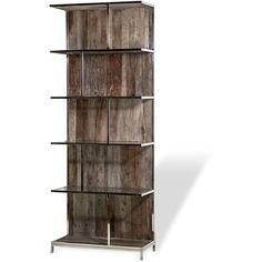 Nova Industrial Loft Recycled Elm Wood Metal Bookcase ($2,586) ❤ liked on Polyvore featuring home, furniture, storage & shelves, bookcases, decor, storage, metal bookcase, metal storage shelves, industrial storage shelves and metal shelves