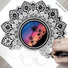 Doodle Art Drawing, Cool Art Drawings, Mandala Drawing, Pencil Art Drawings, Art Drawings Sketches, Mandala Art Lesson, Mandala Doodle, Mandala Artwork, Mandala Painting