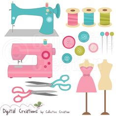 A cute and colourful Sewing clipart clip art set by Creative Clip Art Collection. Sewing Room Decor, Sewing Rooms, Sewing Clipart, Machine Logo, Patch Aplique, Sewing Cards, Clip Art, Art Clipart, Love Sewing