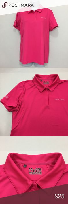 """Under Armour Womens Golf Shirt Polo M Erin Hills Under Armour Womens Golf Shirt Polo M Short Sleeve Pink Erin Hills 95% Polyester 5% Spandex Shoulder to shoulder - 16"""" Armpit to armpit - 19"""" Length - 25"""" Please take some time to view the other items in my store. All item condition ratings are done in honest good faith. Under Armour Tops Tees - Short Sleeve"""