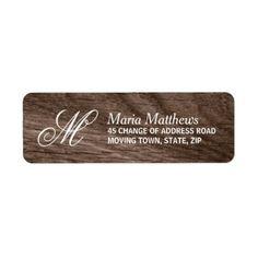 Elegant wood monogram return address label - wood wedding style nature diy customize personalize marriage