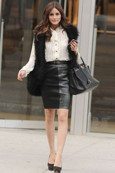 Olivia Palermo in a fur gilet in New York