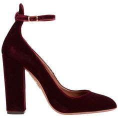 Aquazzura Women's Alix Stack Heel Velvet Pump ($725) ❤ liked on Polyvore featuring shoes, pumps, chunky high heel pumps, burgundy pumps, velvet pumps, stacked heel pumps and adjustable shoes