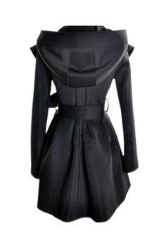 Slim Hooded Black Trench Coat