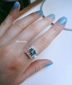 Silver ring with embroidery Ag 925, Dainty ring, Sterling silver ring, Flower ring, Something blue, Petit point jewelry, Square ring by SlivkAtelier on Etsy