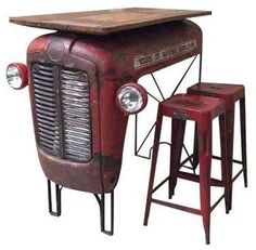 tolix stool and tractor hood table] - Pesquisa Google