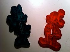 Vintage Red Plastic Minnie and Mickey Mouse by jumpinginfountains