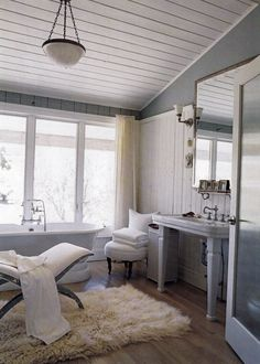Thinking a long the same lines with color scheme, but with a darker gray. I'm doing the ceiling white like this and ceramic tile on the floor that looks like old barn wood.
