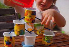 Giochi d'acqua: la fontana con i vasetti di yogurt