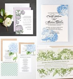 Hydrangea Wedding Invitations | www.onefabday.com