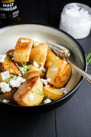 Crispy Sea Salt and Vinegar Potatoes with Goat Cheese and Chives | Katie at the Kitchen Door