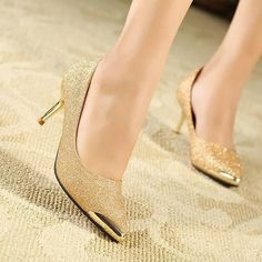 Wholesale Heel Shoes - Buy New Arrival Metal/Pointed Toe Mid Heel Shoes OL Female Career Shoes Pumps X506 Black&Gold, $22.1 | DHgate