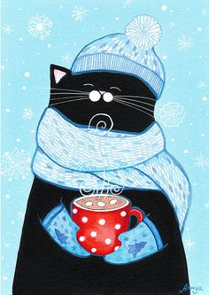 Snowy Day Fashion Cat with Cocoa  Light Teal Blue and White Snowflakes by annya127