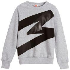 MSGM Boys Grey Jersey Sweatshirt with Black M at Childrensalon.com