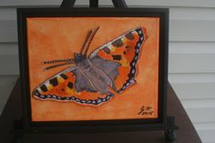 """Orange Butterfly LEATHER COLLAGE on 10x8"""" Canvas, FRAMED, Art, Leather, Painting, Collage, Wall Art, Home Decor, Unique Gift by LindasLeatherStore on Etsy"""