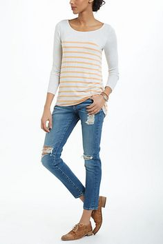 distressed denim + orange & white stripes