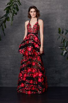 Sleeveless fringe floral embroidered tiered gown with lace trims