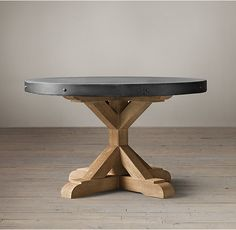 RHu0027s Salvaged Wood U0026 Concrete X Base Round Dining Table:Our Table Pairs A