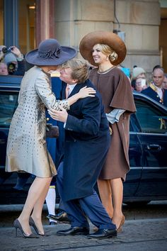 King Willem-Alexander and Queen Maxima of the Netherlands welcome King Philippe (not pictured) and Queen Mathilde during an official welcome ceremony at the Dam Square in the front of the Royal Palace at the start of the three-day state visit on 28 November 2016 in Amsterdam, The Netherlands.