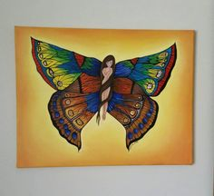 Oil painting of butterfly girl on canvas ready to hang.