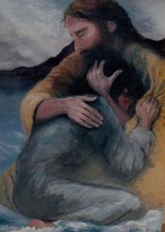 Jesus Christ comforting a girl in a loving embrace. Prophetic art.