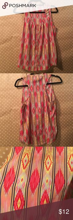Bright Ikat Print Tank Yellow pink and purple print silk tank. In good condition. Collective Concepts Tops Tank Tops