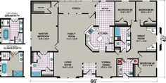 Searching for a new manufactured home? Find mobile home floor plans of all sizes and varieites. Browse single-wides, double-wides, multi-sections, and more. House Plans One Story, Barn House Plans, Ranch House Plans, Bedroom House Plans, House Floor Plans, Home Building Design, Building A House, House Design, Condo Design