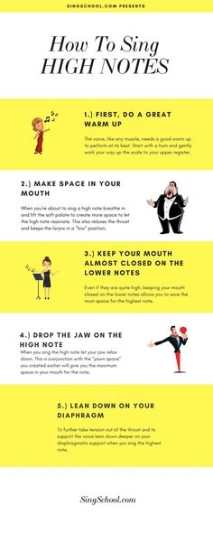 Tips on Singing High Notes - Free online singing lessons! — SINGSCHOOL how to sing high notes, sing high notes with ease, voice training Singing Exercises, Vocal Exercises, Voice Training Exercises, Learn Singing, Singing Tips, Singing Quotes, How To Practice Singing, Singing Lessons For Kids, Vocal Lessons