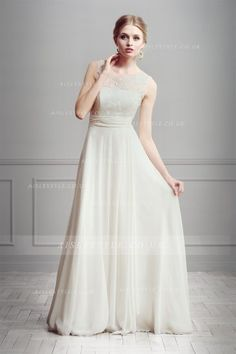 Simple A-line Illusion Beading&Sequins Lace Sweep/Brush Train Chiffon Wedding Dresses