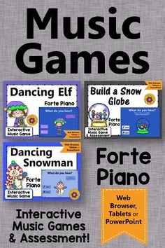 Winter Music Games! Your elementary music students will LOVE these dynamic games reinforcing forte & piano! Easy activity to add to your music lesson plans! #elmused #musicgames #elementaryeducation