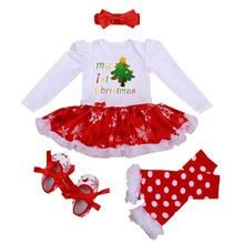 8d359b51051f 4PCS My First Christmas Newborn baby girl Clothes Rompers