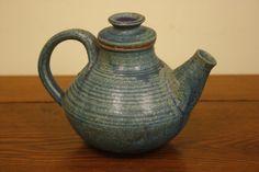David Piper Art Studio Pottery Green Glazed Thrown Applied Teapot Stoneware Vtg
