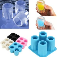 4 Cup Shape Silicone Shooter Ice Cube Glass Mold Maker