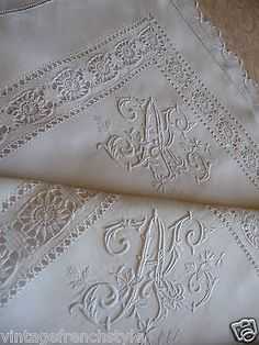 "PAIR ANTIQUE FRENCH LINEN PILLOW SHAMS HAND STITCHED  MONOGRAM ""AL"" in Antiques, Linens & Textiles (Pre-1930), Fabric, Cotton 