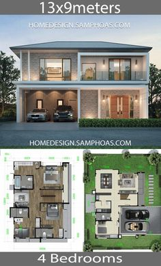 Home design plan with 4 bedrooms - Home Ideas - House Architecture House Layout Plans, My House Plans, Family House Plans, Luxury House Plans, Bedroom House Plans, House Layouts, House Floor Plans, Luxury Houses, 2 Storey House Design