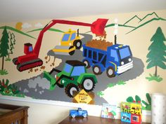 Small Under Construction Wall Mural Perfect for boy's room decor. Four colorful construction vehicles scrape, dig, roll, lift and haul, preparing the site for construction. Any boy who loves to play i Boy Toddler Bedroom, Kids Bedroom, Bedroom Ideas, Boys Room Decor, Boy Room, Unpainted Furniture, Rustic Furniture, Furniture Layout, Antique Furniture