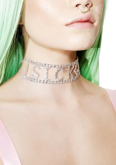 Sicko Cartel Rhinestone Sicko Choker ...but at least my style lookz good 'N well! This ultra glam choker features a sparkly rhinestone construction, box banned with lettering spelling out 'SICKO,' and clasp back closure.