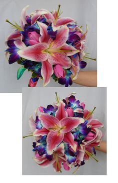 Posy wedding bouquet with stargazer lilies, pink tulips and blue dendrobium orchids. floral@kuhlmanns.com