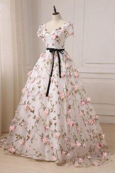 Unique v neck 3D applique long prom dress, evening dress