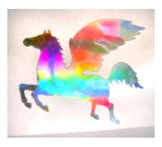 Mrs Grossman HOLOGRAPHIC PEGASUS Strip of VINTAGE RETIRED SILVER RARE Sticker/'
