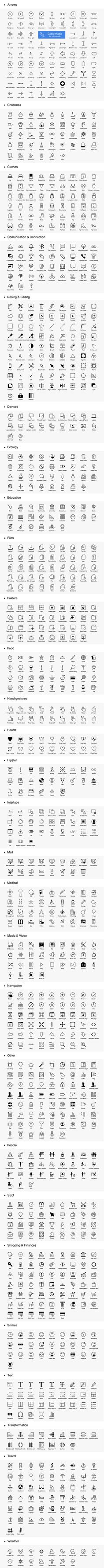 1042 iOS style line icons by Robert.F on Creative Market
