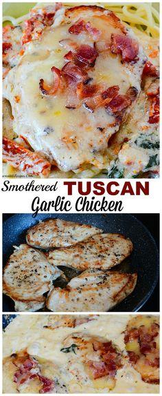 Smothered Tuscan Garlic Chicken! image on RecipesHeaven.com
