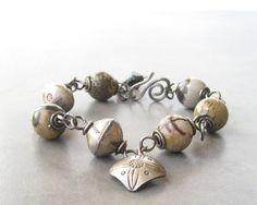 wire wrapped bracelet jasper bracelet organic by theBeadAerie, $90.00