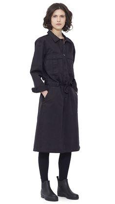 WOMEN AUTUMN WINTER 15 - Black cotton Airforce Dress MHL, navy Shetland wool Knee High Sock MHL, black pvc Ankle Wellie MHL