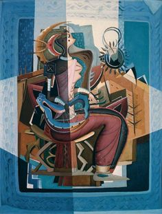 Cubist influenced Woman with a Lyre, by Alexis Preller South African Artists, Figure Drawing, Top Artists, Contemporary Artists, Art Museum, Oil On Canvas, Old Things, Sketches, Drawings